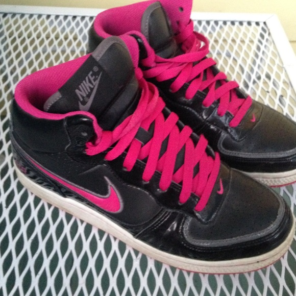 Nike Air High Tops Black And Hot Pink